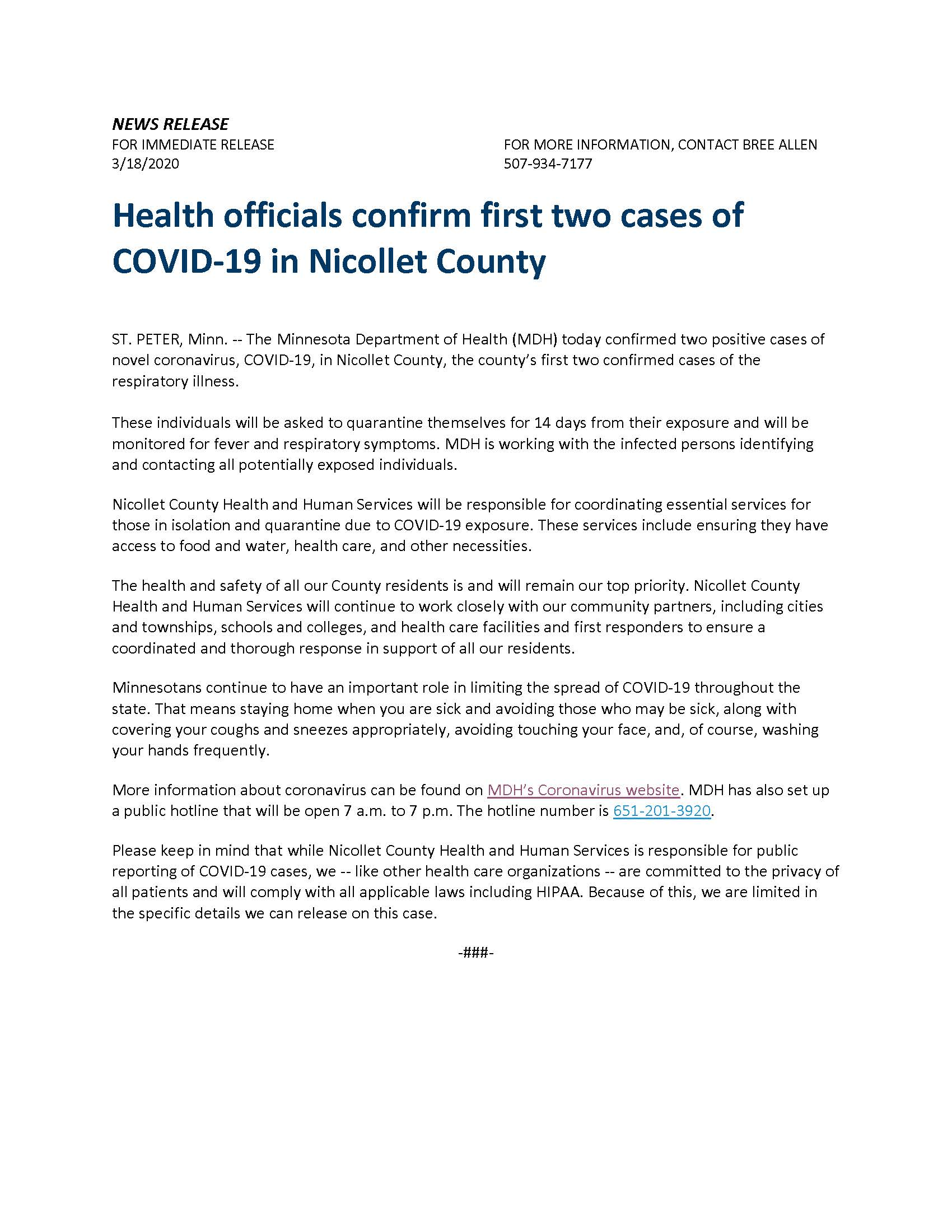 Health officials confirm first two cases of COVID-19 in Nicollet County